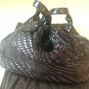 Cole Haan Genevieve patten leather woven bag